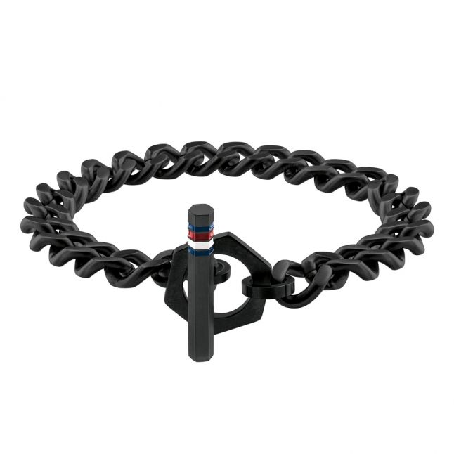 Mens Black Toggle Chain Bracelet