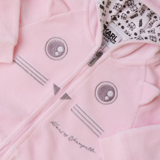 Baby Pink Kitten Hooded Zip Sweat Top