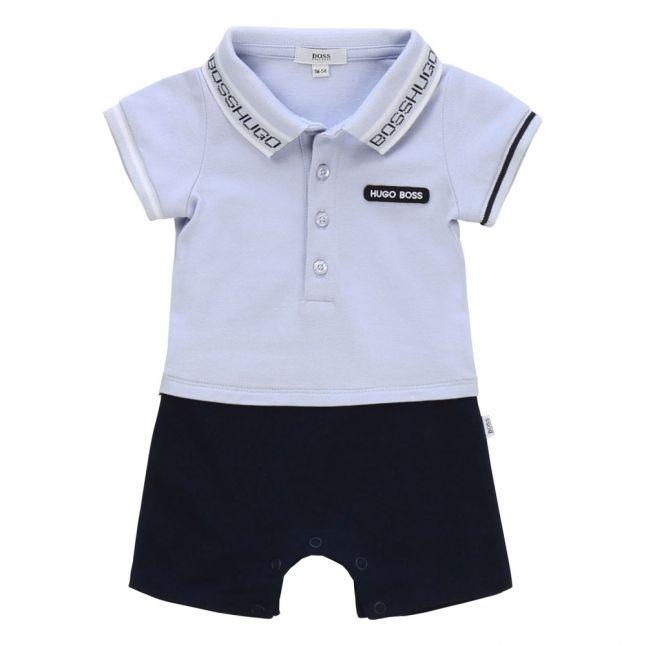 Baby Pale Blue Pique Polo Romper