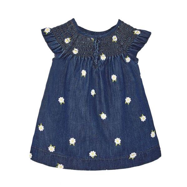 Infant Dark Blue Denim Daisy Dress