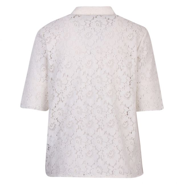 Womens White Visulacey Floral Lace S/s Blouse