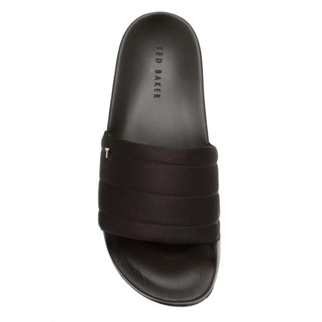 Womens Black Padda Satin Slides