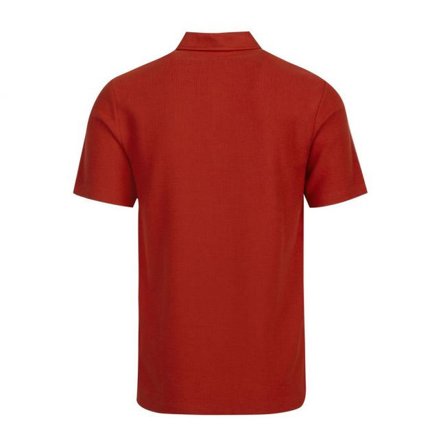 Mens Orange Strict Waffle Textured S/s Polo Shirt