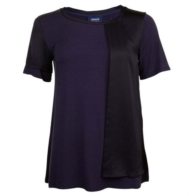 Womens Blue Panel Detail S/s T Shirt