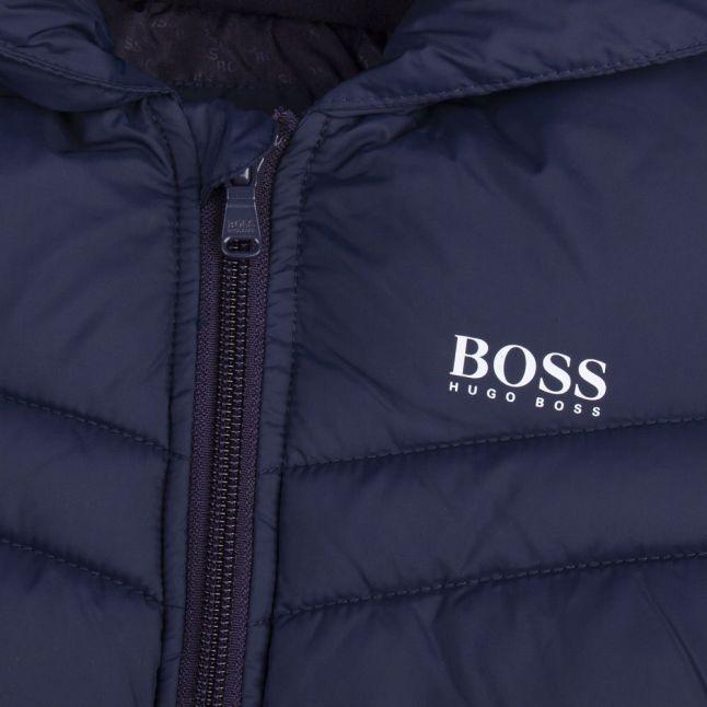 Boys Navy Branded Hooded Padded Jacket