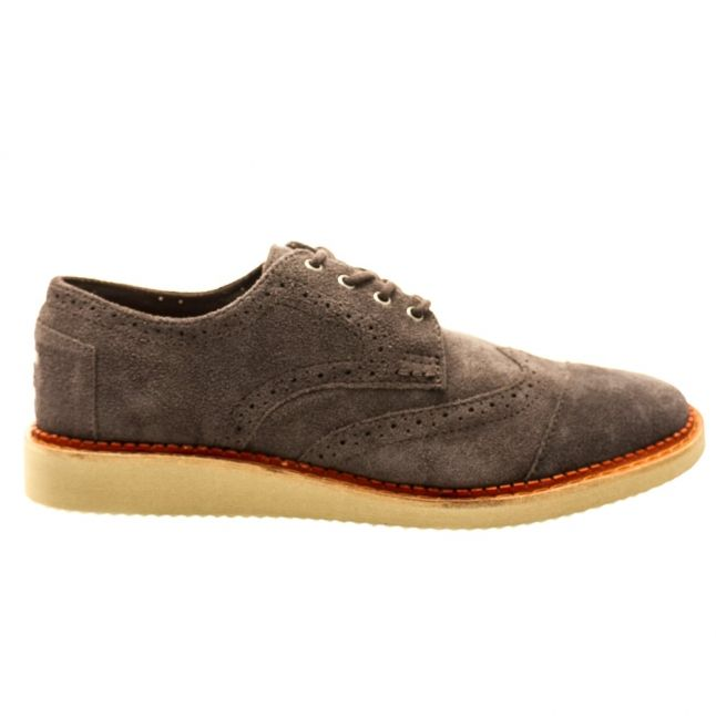 Mens Grey Froged Iron Classic Suede Brogue