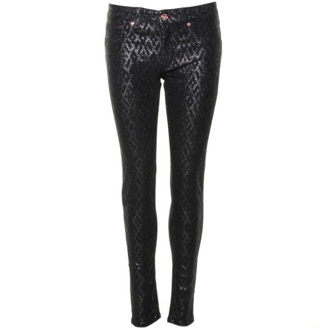 Womens Black Aninna Diamond Glitter Skinny Fit Jeans