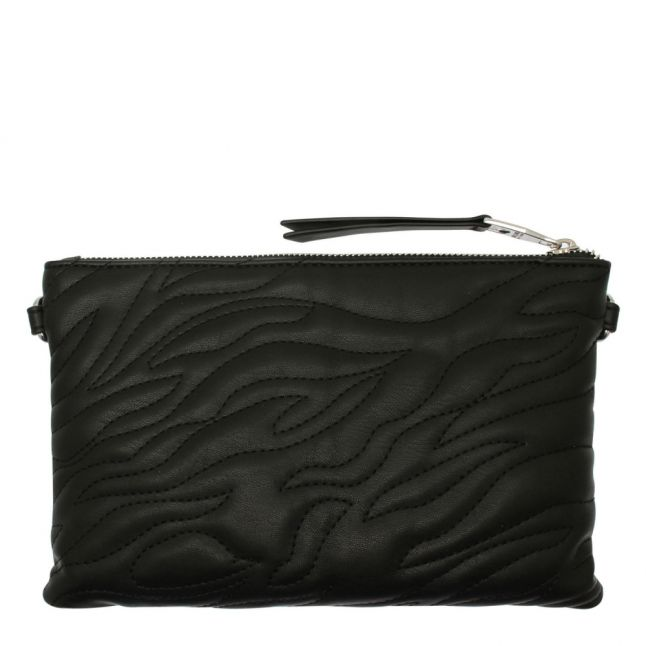 Womens Black Animal Quilted Pouch Crossbody Bag