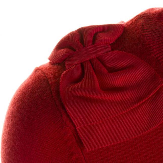 Womens Bright Red Callah Bow Detail Jumper