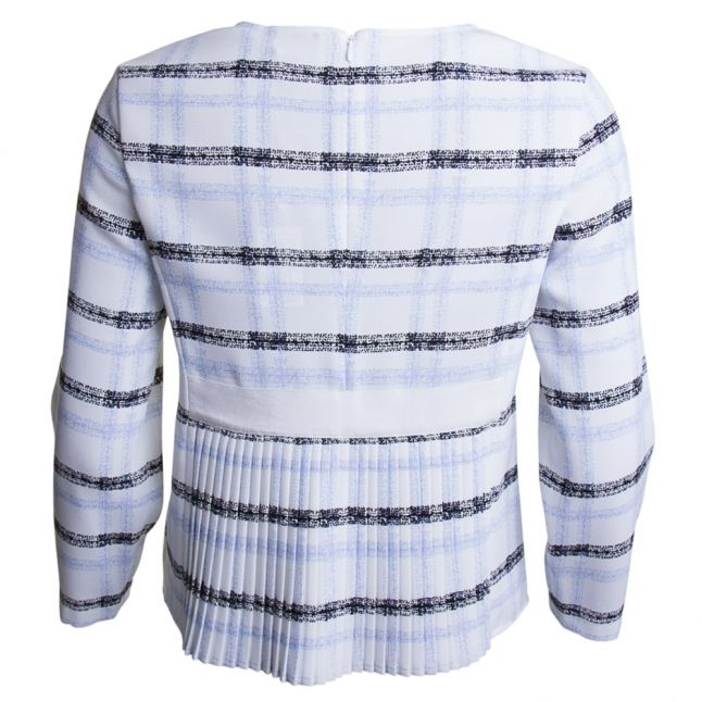 Womens Check Pleated Detail Blouse