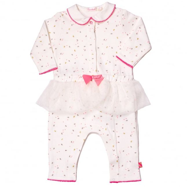 Baby White & Pink Frill Detail Romper