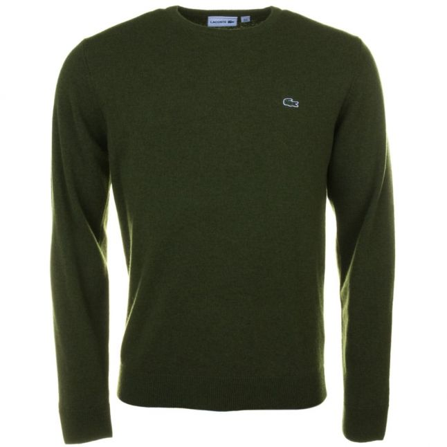 Mens Green Wool Crew Knitted Jumper