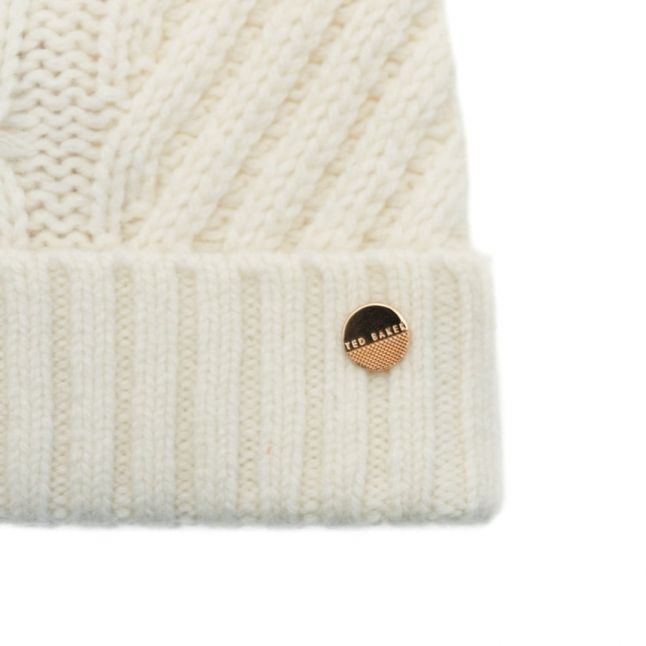 Womens Cream Lisabet Cable Knitted Pom Pom Hat
