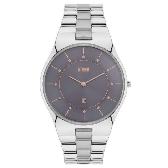 Womens Grey Dial Silver Crysty Watch