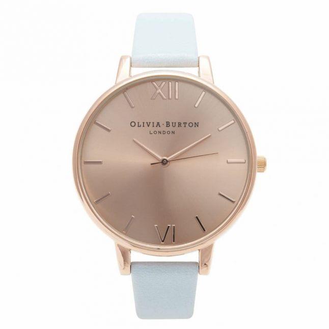 Womens Powder Blue & Rose Gold Big Dial Watch