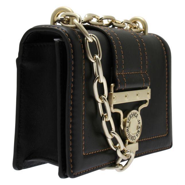 Womens Black Branded Leather Small Crossbody Bag