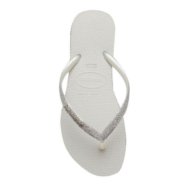 Womens White Slim Sparkle Flip Flops