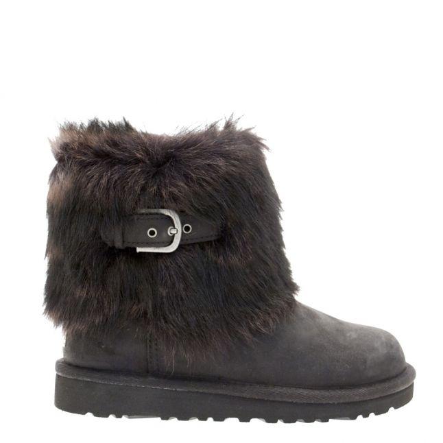 UGG®Girls Black Ellee Leather Boots