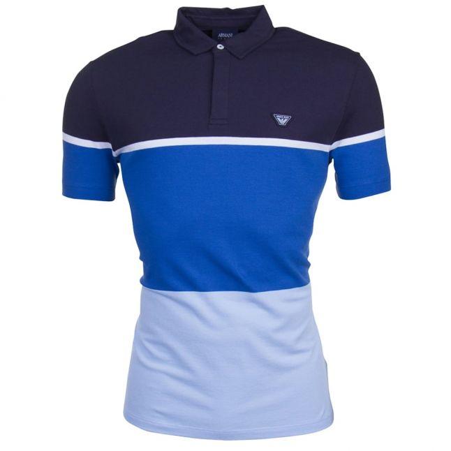 Mens Blue Colour Block S/s Polo Shirt