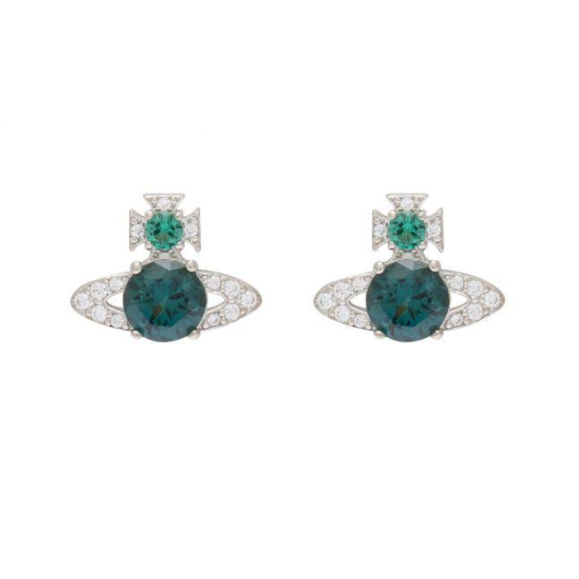 Womens Rhodium/Green Ismene Earrings