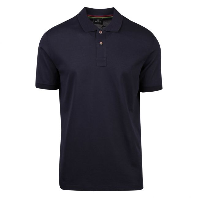 Mens Slate Stripe Trim Collar Regular Fit S/s Polo Shirt