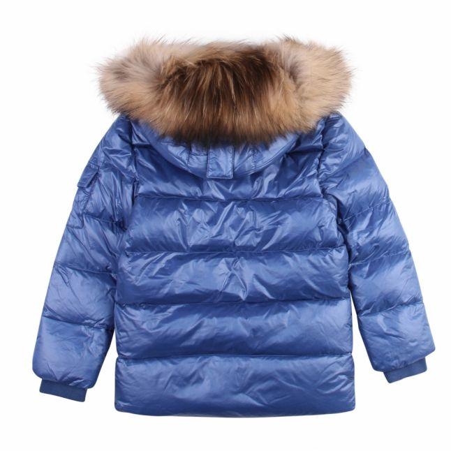 Girls Blue Authentic Shiny Fur Hooded Jacket