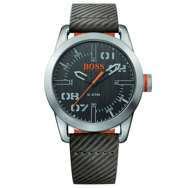 Watches Mens Black Dial Oslo Leather Strap Watch