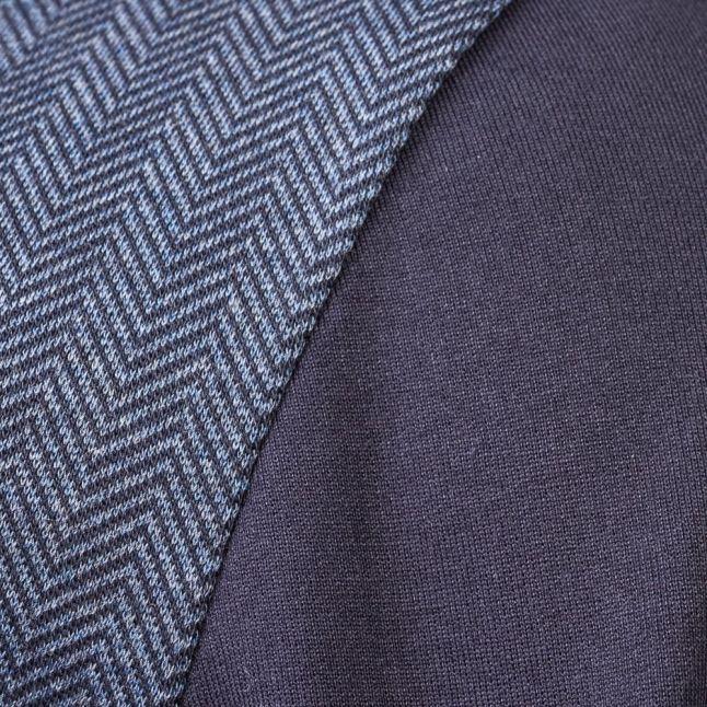 Mens Dark Blue Loungewear Herringbone Hooded Sweat Top