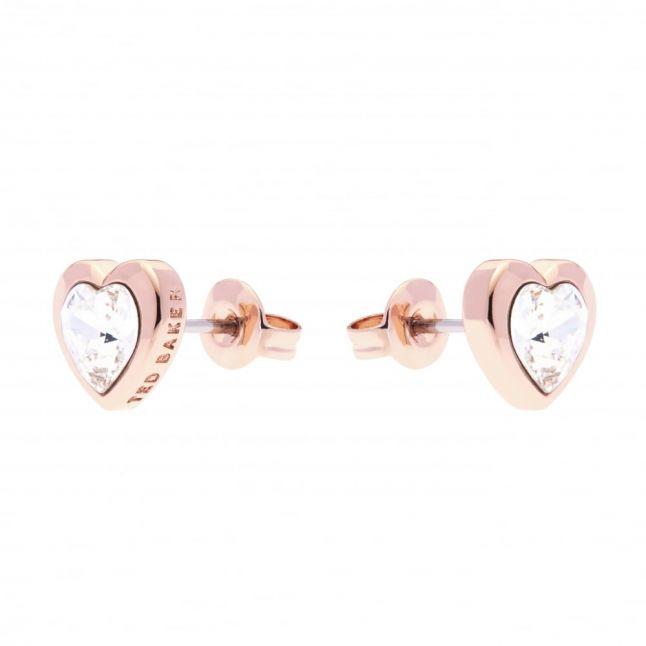 Womens Rose Gold Crystal Heart Earrings