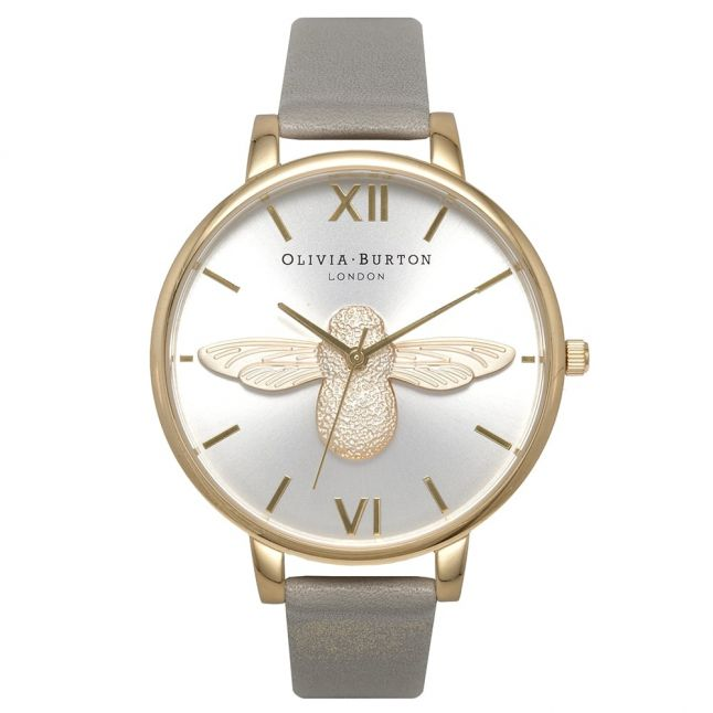 Womens Grey Gold & Silver Animal Motif Moulded Bee Watch