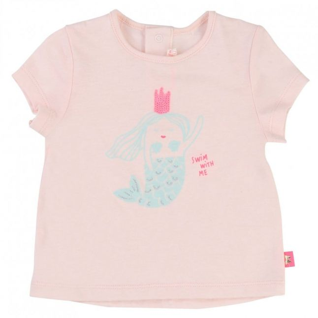 Baby Pink Mermaid Print S/s Tee Shirt
