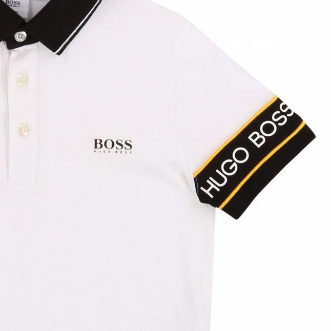 Boys White Logo Tape Sleeve S/s Polo Shirt