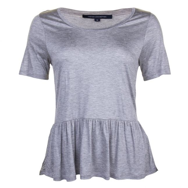 Womens Mid Grey Melange Miro Mercerised Peplum Top