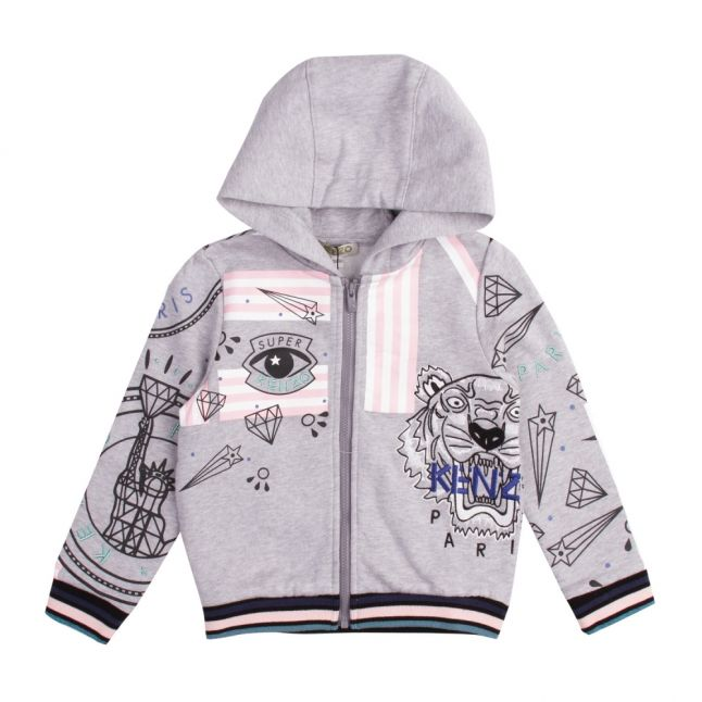 Junior Marl Grey Gloria Hooded Zip Through Sweat Top