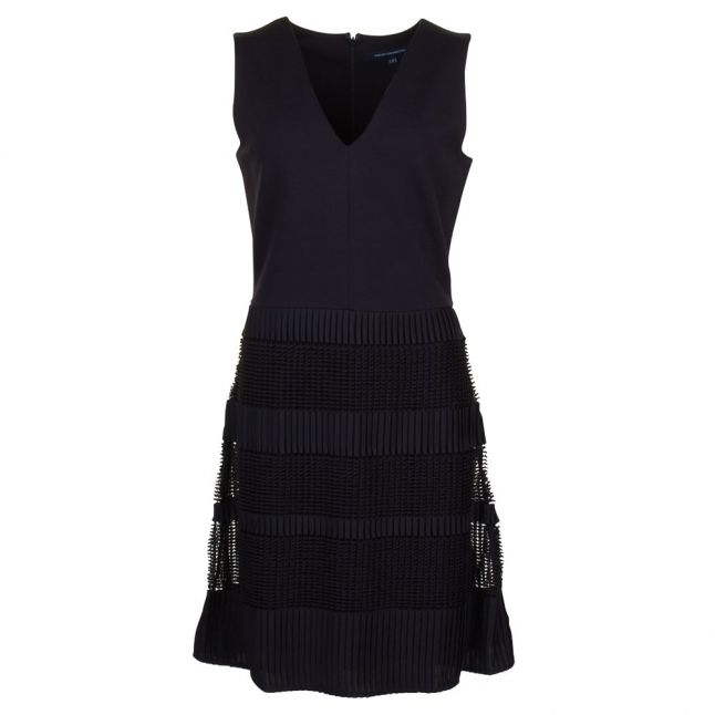 Womens Black Pleat Lace Jersey Dress