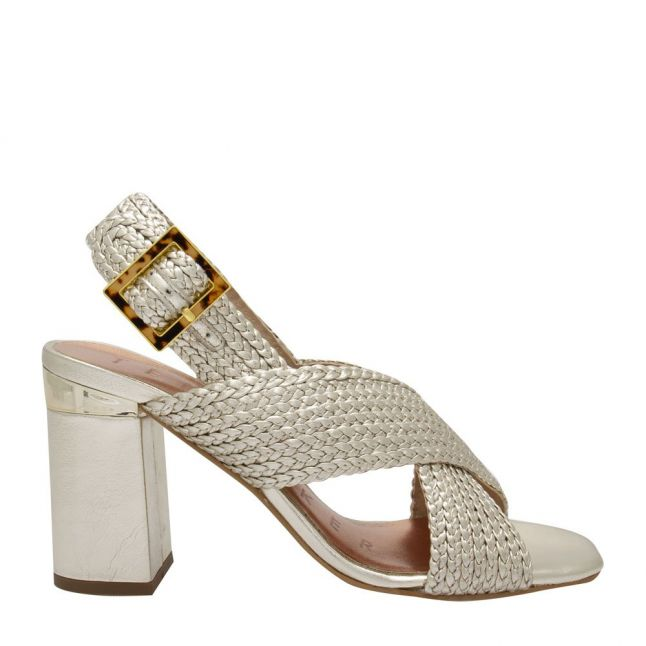 Womens Gold Camiam Woven Heeled Sandals