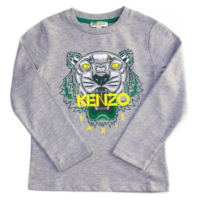 Boys Marl Grey Alexy 2 Tiger L/s Tee Shirt