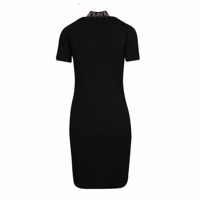 Womens Black Zip Front Trim Midi Dress
