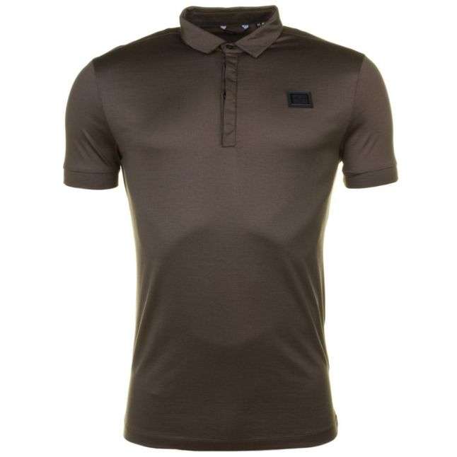 Mens Loden Green Black Label Badge S/s Polo Shirt