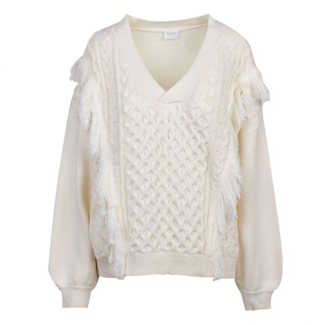 Womens Whisper White Vikajun Fringe V-Neck Knitted Top