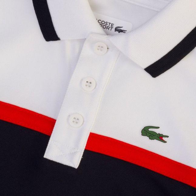 Boys White & Navy Chest Stripe S/s Polo Shirt (6yr+)