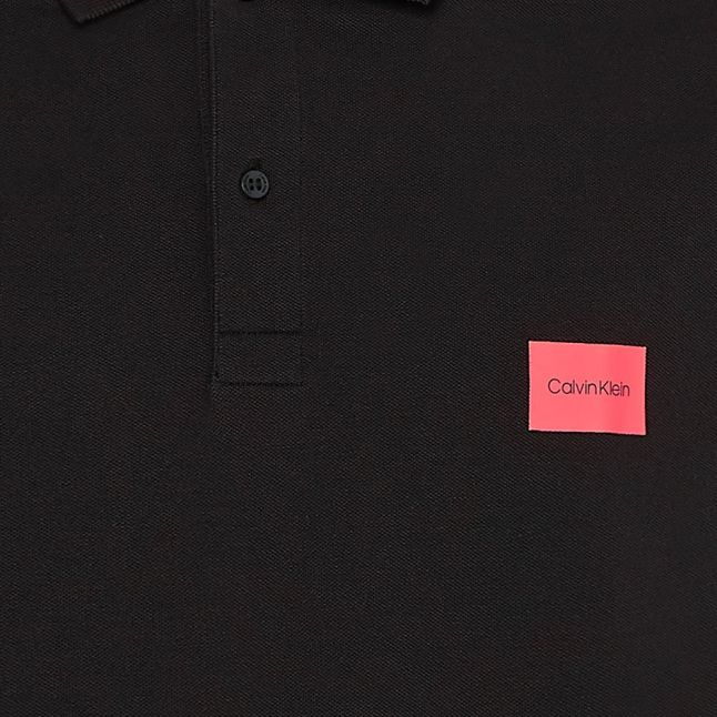 Mens Black Stretch Badge Slim Fit S/s Polo Shirt