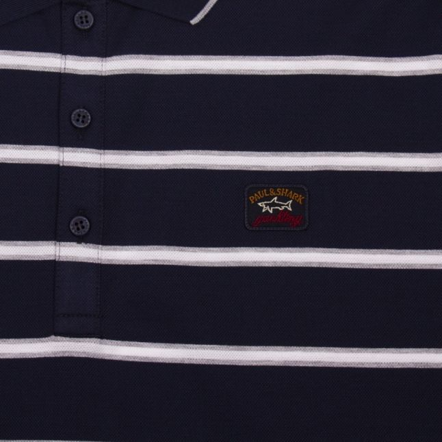 Mens Navy/White Small Stripe Custom Fit S/s Polo Shirt