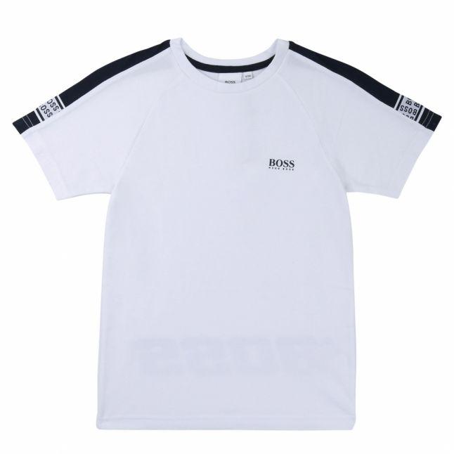 Boys White Logo Trim S/s T Shirt