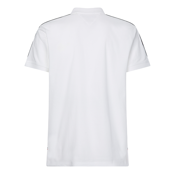 Mens White Clean Sleeve Tape Regular Fit S/s Polo Shirt