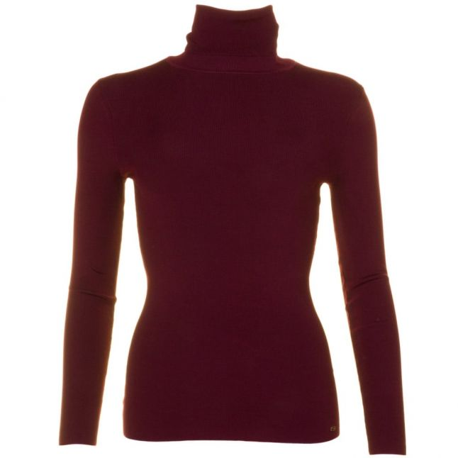 Womens Oxblood Smone Roll Neck Knitted Jumper