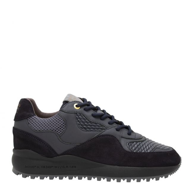 Mens Navy Grey Gloss Woven Santa Monica Trainers
