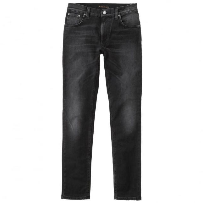 Mens Black Fall Wash Thin Finn Slim Fit Jeans