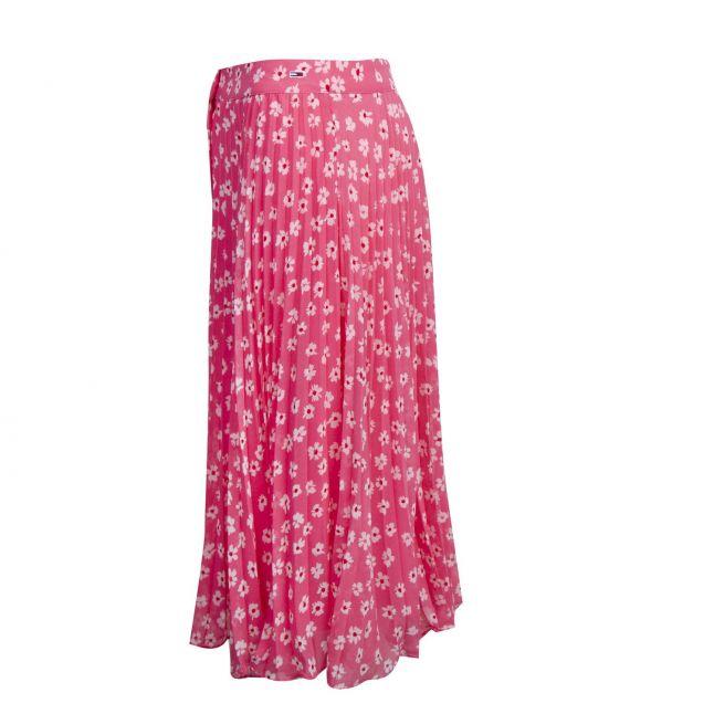 Womens Glamour Pink Floral Print Midi Skirt