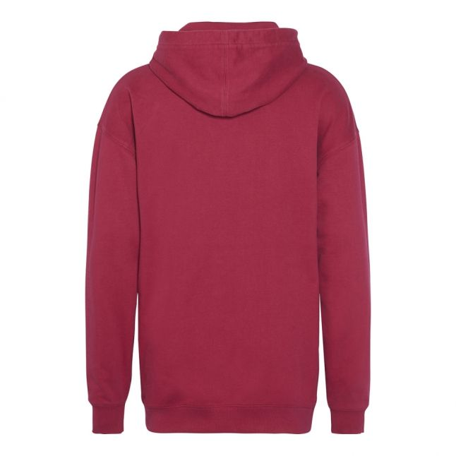 Womens Beet Red/Blossom Washed Monogram Oversized Hoodie
